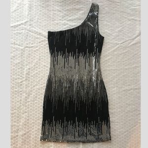 Dresses & Skirts - Black and silver sequin one shoulder dress size S